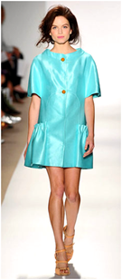 Short silk jacket in turquoise color, summer top trend turquoise