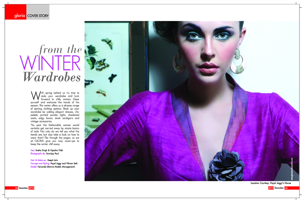 Inside Page, Gloria Magazine December 2010, Styling Payal jaggi