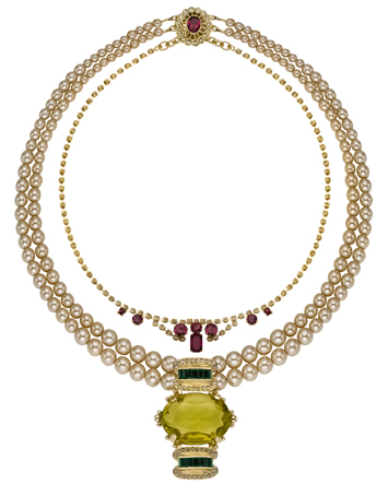 Triple Strand Pearl and Diamante Necklace with Citrine, Fashion Necklaces, Chunky Necklace India