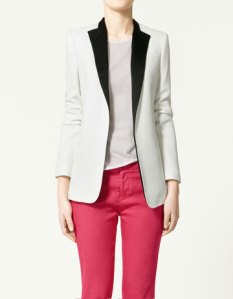 Zara, contrast lapel Blazer