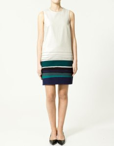 Zara, white dress with patterned hem