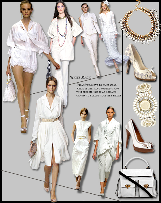 Spring Summer 2011 story board, white fashion trend, Spring top trends