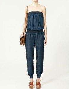 Elasticated Denim Jumpsuit, Zara