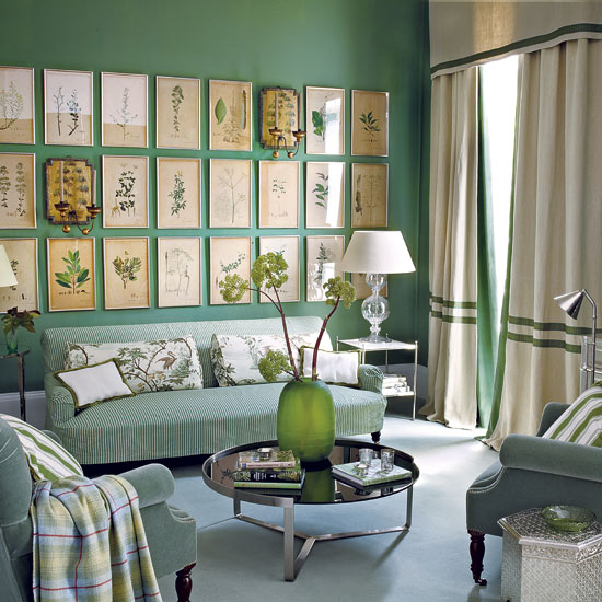 homes and gardens, room decor ideas, green walls, wall art for colored walls,