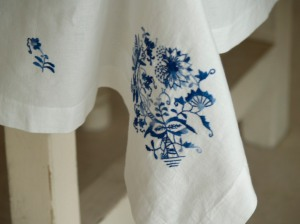 hand embroidered table linen, white table linen, India