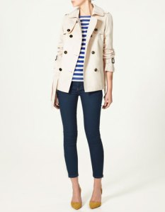 Zara, White Short Trench Coat