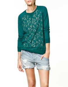 Zara Lace Blouse in green,line shopping lace on