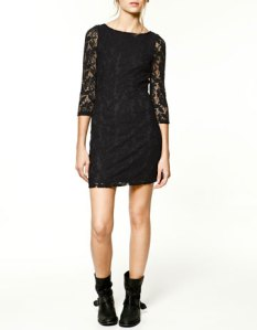 Zara Black Lace Dress, Black lace dress india,