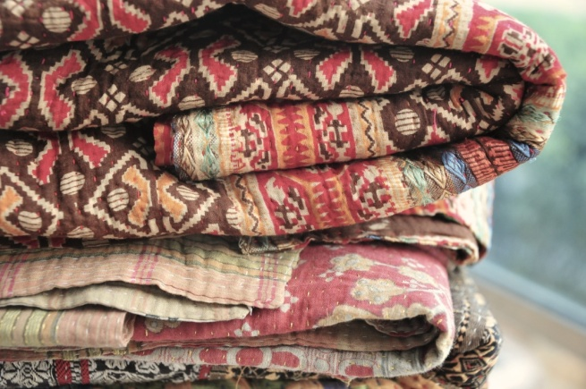 Kantha Vintage Throw, Handmade Kantha throw